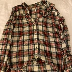 Free People plaid flannel button down